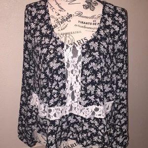 Lush black and white boho blouse size small